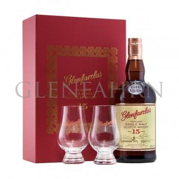 Glenfarclas 15y Geschenkpackung mit 2 Gläsern