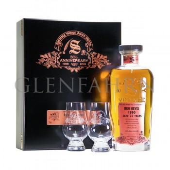 Ben Nevis 1990 27y Cask 1505 30th Anniversary Signatory Holzkiste mit 2 Gläsern