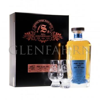 Port Ellen 1982 35y Cask#2040 30th Anniversary Signatory Holzkiste mit 2 Gläsern